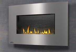 A modern gas fireplace