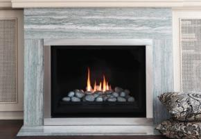 Tradiotional flush face fireplace with logset