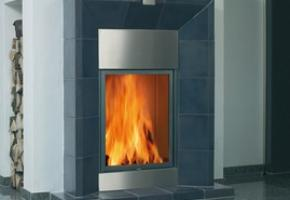 Contemporary Spartherm wood burning fireplace